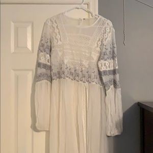 FREE PEOPLE embroidered lace long top